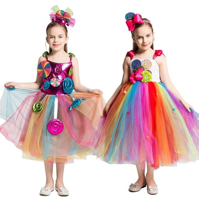 Candy Lollipop Tutu ชุดสาวหวานวันเกิดสายรุ้งชุด Headband วันเกิด Carnival เครื่องแต่งกายเจ้าหญิง Candy Ball Gown