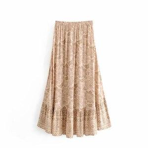 Image 2 - שיק היפי נשים מדבר פרחוני מודפס שרוך אלסטי מותן בוהמי מקסי חצאיות גבירותיי ריון סימטרי boho חצאית
