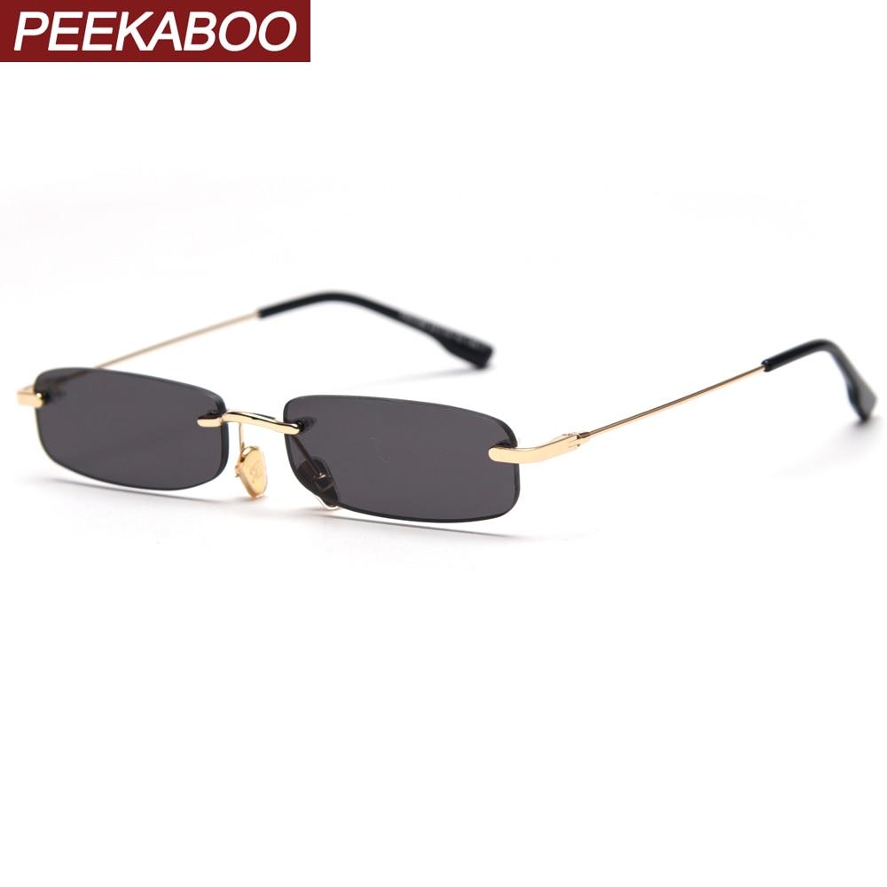 Peekaboo Retro Rimless Sunglasses Square Men Tinted Color Small Sun Glasses For Women 2020 Uv400 Summer Gift Metal Dropship