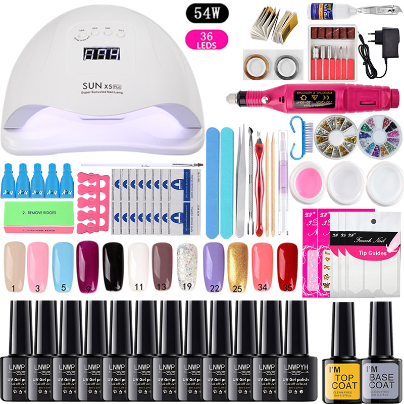 Nail Set UV LED Lamp Dryer With 18/12/10pcs Nail Gel Polish Kit Soak Off Manicure Tools Set electric Nail drill For Nail Tools 5
