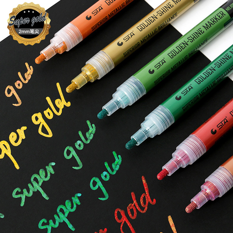 STA 6 Farben Super Goldene-glanz Marker Wasser-proof Metallic Marker Stift Für Modell Färbung Farbe stifte Metall tuch Glas Holz