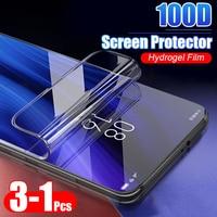 3-1 Uds 100D de hidrogel de película para Xiaomi Redmi 4X 5 Plus 8T 8 Pro 7A Nota 8 7 9S Pro Max funda protectora de pantalla no de vidrio