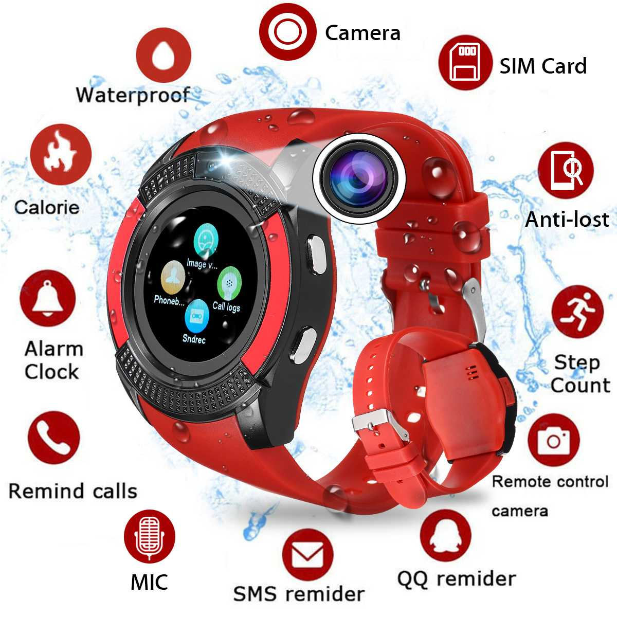 V8 Smart Watch Bluetooth Smart Watch Touch Screen Wrist Watch With Camera SIM Card Slot Waterproof Sports Watch For Android image