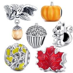Ajuste pan pulseira outono nova folha de bordo esquilo 925 prata esterlina contas nozes abóbora charme para as mulheres jóias alta qualidade diy