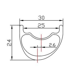 Image 2 - SALE 29er 라이트 XC 비대칭 후크리스 MTB 카본 림 30mm 너비 24mm 깊이 2.6mm 오프셋 마라톤 튜브리스 마운틴 바이크 휠