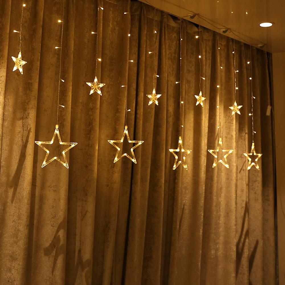 Kuulee 2.5M 138LEDs Star String Curtain Light Fairy Five-Pointed Star Lamp Xmas Wedding Holiday Room Decoration