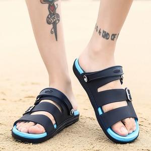 Image 4 - Letnie męskie kapcie sandały obuwie oddychające sandały plażowe męskie odkryte wygodne modne pantofle guma sportowa buty