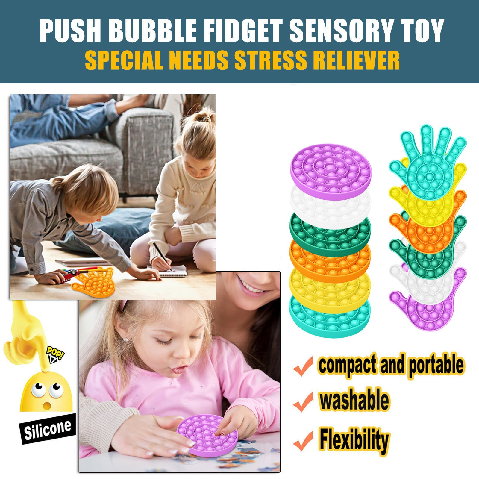 Decompression Toy Push Bubble Fidget Sensory Squeeze Toy Autism Special Needs Stress Reliever Anxiety Toys Round + Hand Shape 5* enlarge
