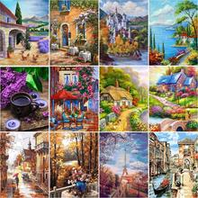 GATYZTORY Frame DIY Oil Paint By Numbers Kits For Adults Countryside Landscape Diy Gift Acrylic Paint By Numbers For Home Decor image