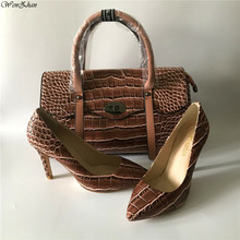 Handbag-Sets Shoes10cm Matching High-Heels Women Snake WENZHAN Soft A98-23 Top-Quality
