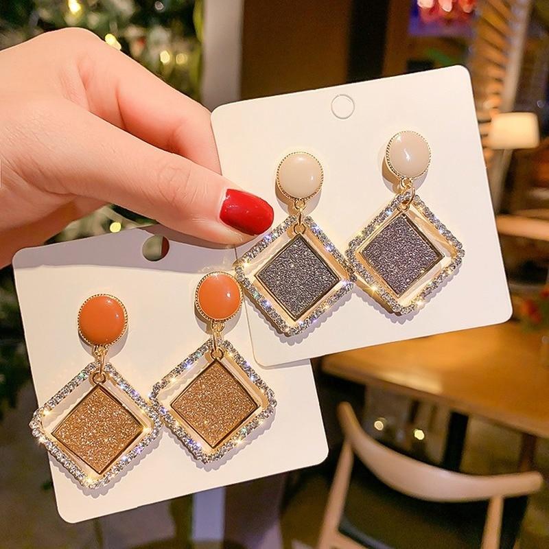 New Fashion Women's Geometric Hollow Matte Long Drop Earrings Dangling Earrings Gift For Women Party Wedding Jewelry Brincos