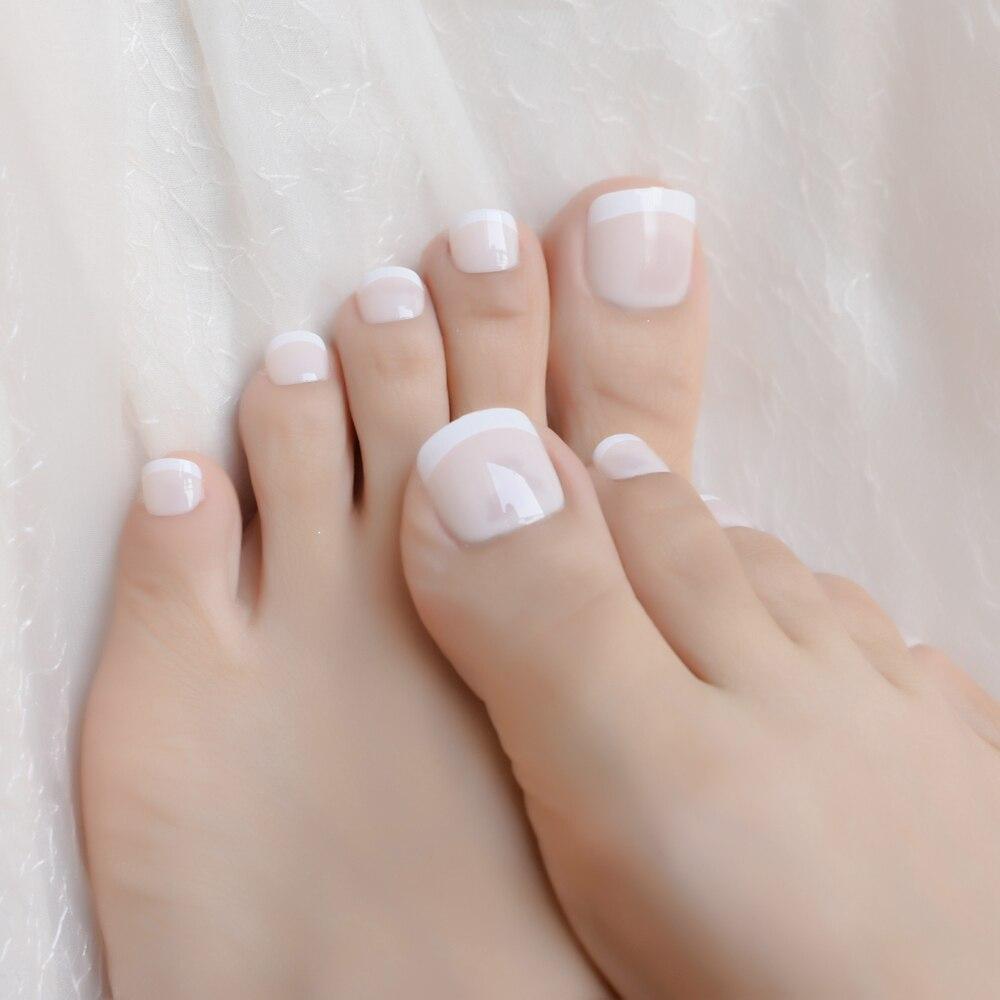 149 25 De Descuentouña Blanca Beige Para Dedos De Los Pies Diseño Amplio Uñas De Los Pies Artificiales Clásicas Falsas Consejos De Estilo Francés