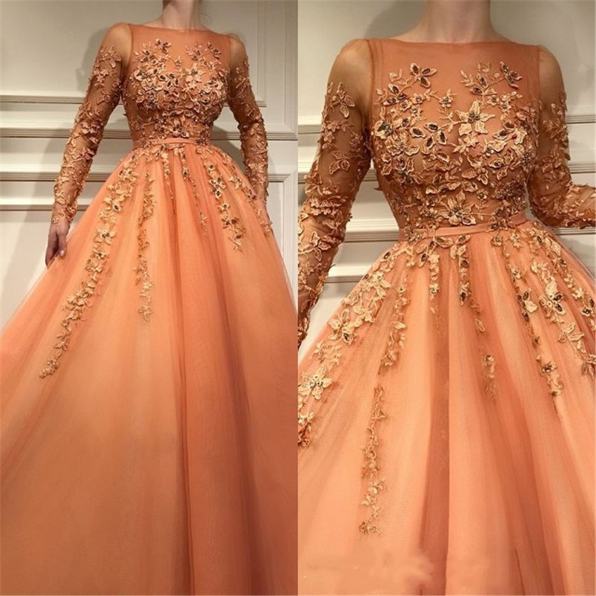 H Muslim Evening Dress Newest Design Jewel Neck Lace Appliques Long Sleeve Organza Floor Length Prom Party Bridal Guest Gowns