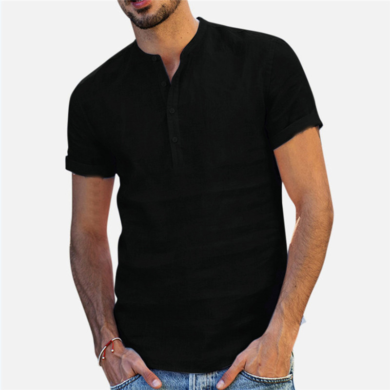 Men Linen Shirts Short Sleeve Breathable Men's Baggy Casual Shirts Slim Fit Solid Cotton Shirts Mens Pullover Tops Blouse 3