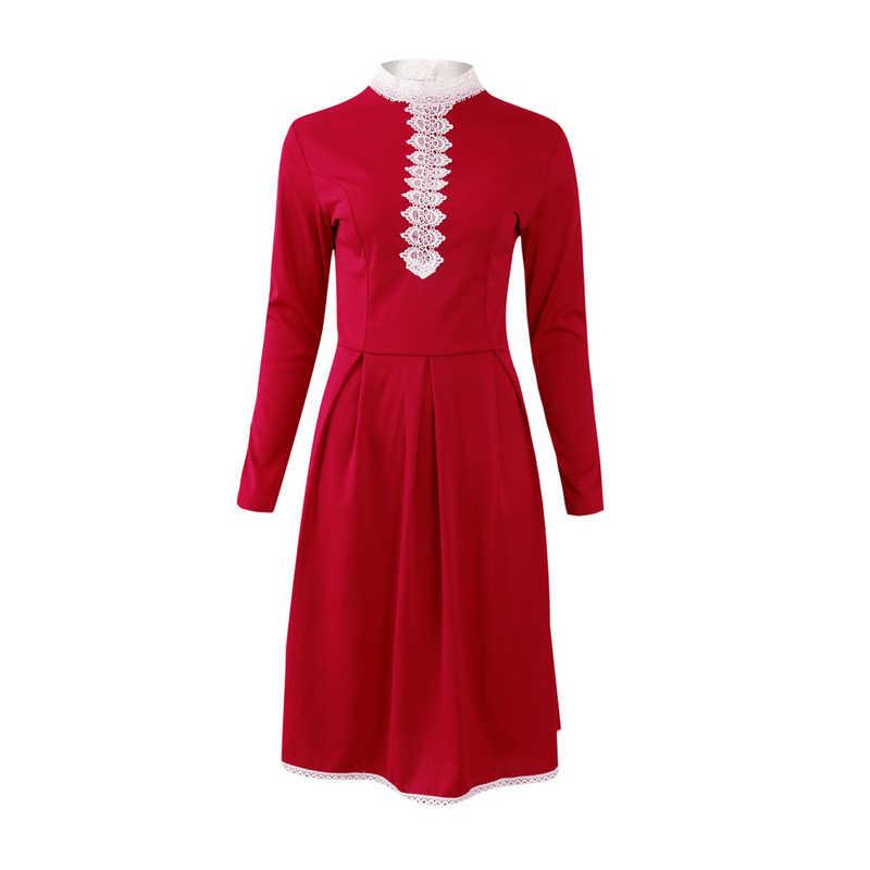 Inverno Abiti Di Natale Delle Donne 50S 60S Vintage Robe Swing Pinup Elegante Vestito Da Partito Manica Lunga Casual Pizzo Rosso UN abito linea