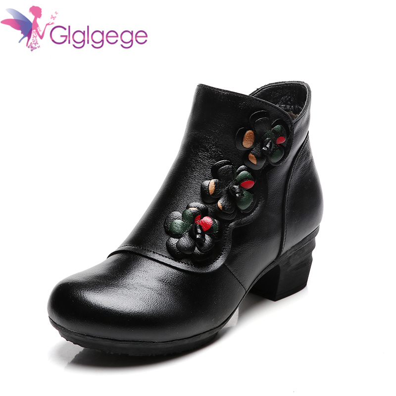 Cheap Glglgege 2019 New Cow Leather Ankle Boots Women Shoes Genuine Leather Winter Boots Soft Flower Comfortable Warm Spare Heel Boots
