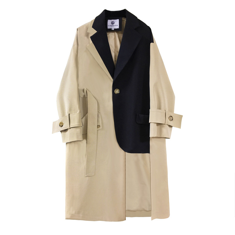 Spring Autumn Long   Trench   Coat Women Irregular Thin Windbreaker Loose Spliced Single Breasted Overcoat Women Belted Trenchcoat