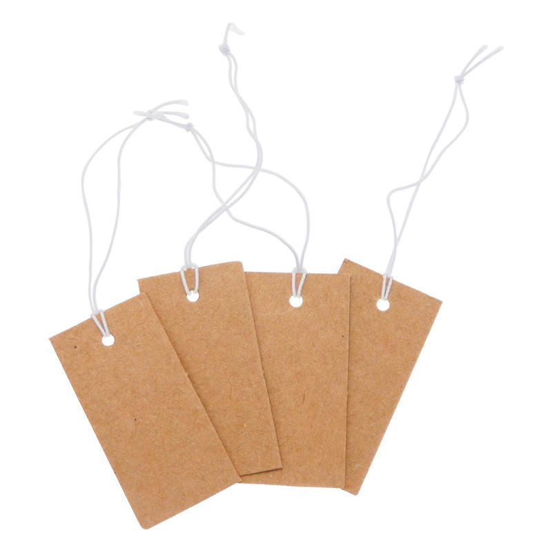 1000pcs Brown Label Tags with Hanging String Hang Tag Card for Jewelry Shoes Clothing Price Label Home <font><b>Decor</b></font> Card image