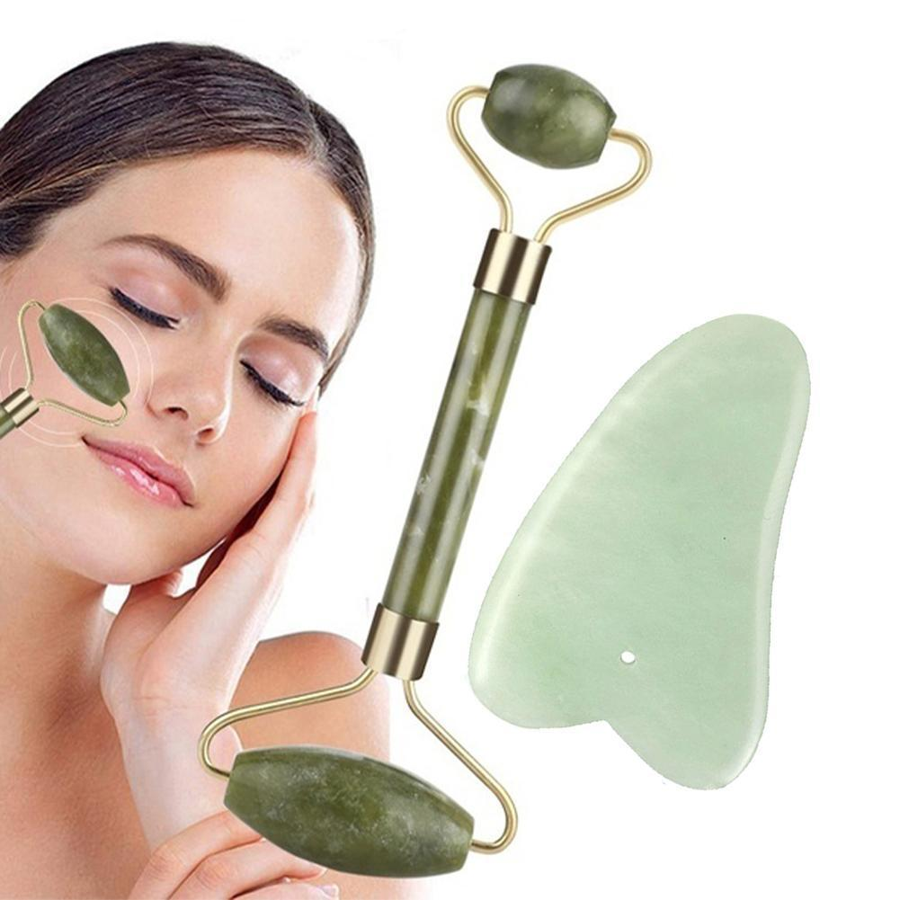 Rodillo verde y herramientas Gua Sha, juego por rascador de Jade Natural para cara con masajeador de cuello y piedras Jawline W3S8