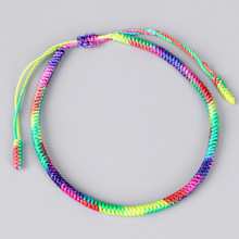 Multicolour Handmade Braid Rope Bracelet Bangle For Women Adjustable Lucky Ethnic Cuff Jewelry Gift FreeShipping gorgeous multilayer knitted braid alloy cuff bracelet for women