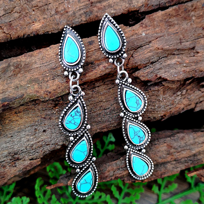 Antique Geometric Water Natural Turquoises Handmade Dangle Earrings