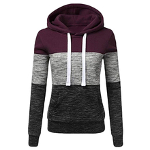 Hoodies Women Sweatshirts Fashion Womens Casual Sweatshirt Patchwork Ladies Hooded Pullover Warm Sweats  Clothing