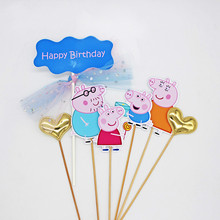 7PCS Peppa Pig Cake Card Fruit Plug-in Birthday Decoration Party Holiday