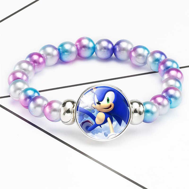 Landak Sonic Manik Gelang Kaca Cabochon Perhiasan Gelang Penggemar Film Bangle Hadiah Ulang Tahun Anak-anak