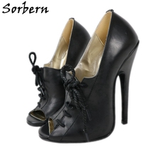 Pump-Shoe Heeled-Shoes Stilettos Crossdressers-Heels 16cm-Heels Black Sorbern Fashion
