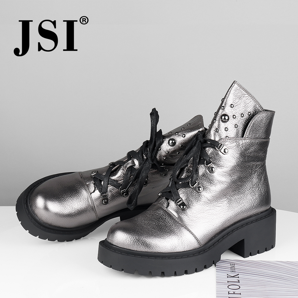 Jsi mulheres botas de tornozelo de couro genuíno nova venda quente sólida mid heel sapatos moda básica metal decoração dedo do pé redondo senhora botas jm42 - 4