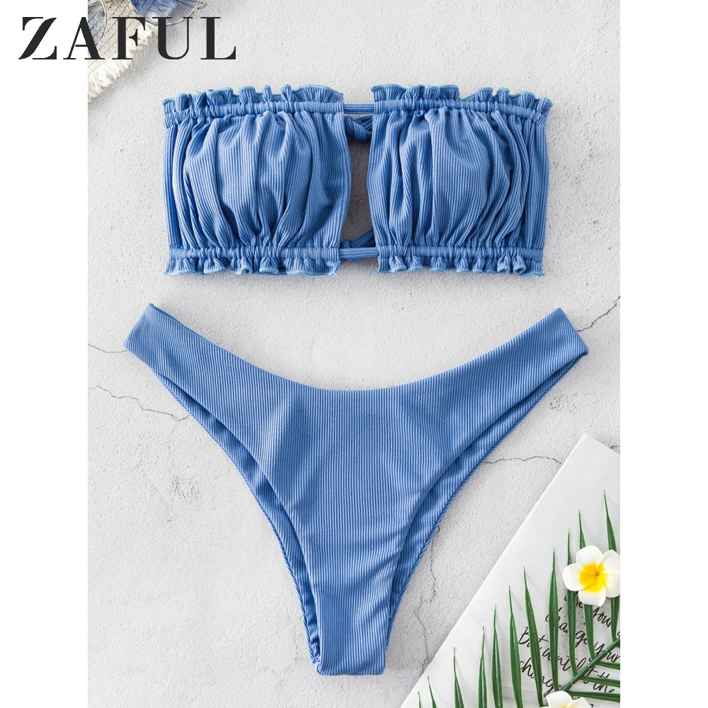 ZAFUL Ribbed Tie Cutout Bandeau Bikini Swimsuit Sexy Strapless Ruched Cut Out Bikini Elastic High Cut High Leg Women Bikini Sets