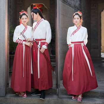 Hanfu Women Men Red Embroidery Dance Costumes Chinese Folk Fairy Dress Festival Outfit Stage Rave Performance Clothing DC3430