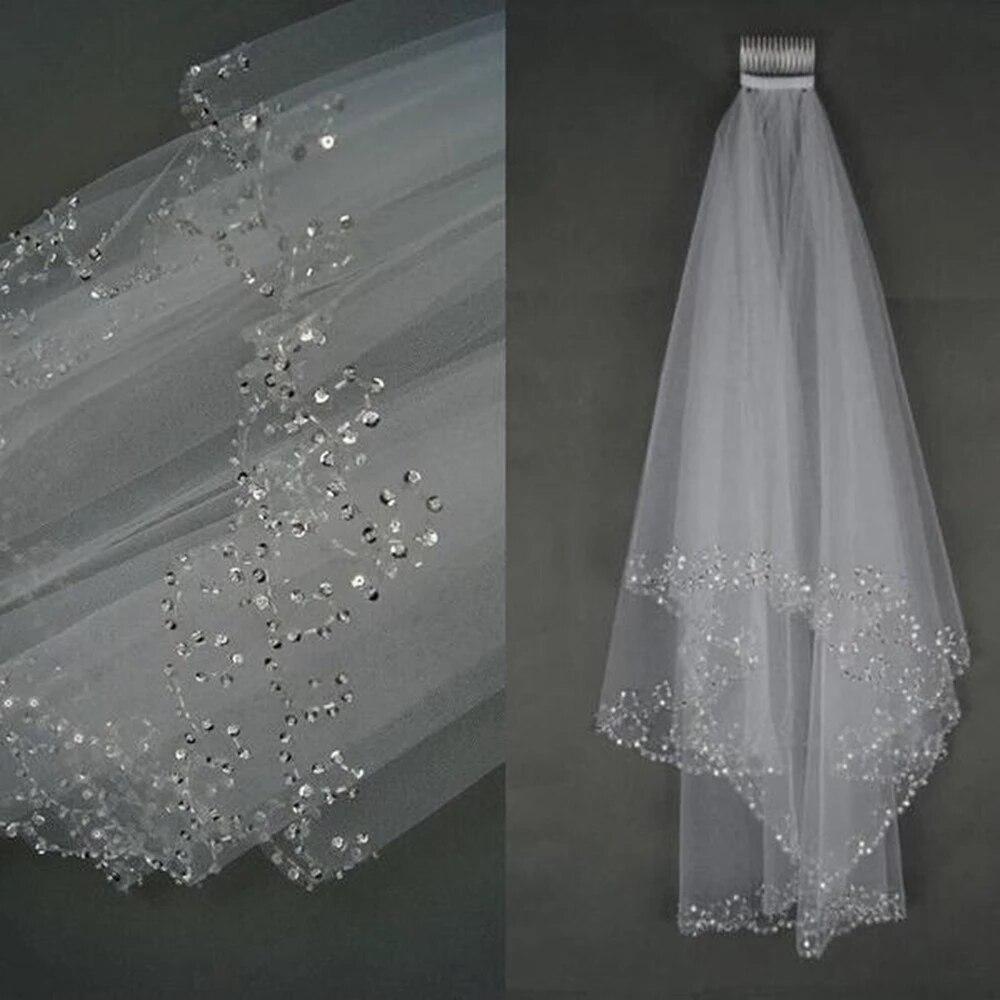 Elegante curto véu de casamento com pente duas camadas tule frisado borda véu nupcial branco marfim acessórios de casamento