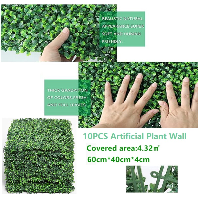 26pcs 40 60 Cm Fake Plant Wall Hanging Artificial Plant Grass Square Mat Lush Green Garden Home Hotel Decoration Leather Bag