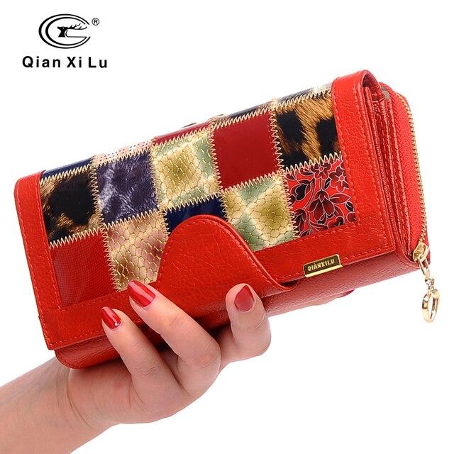 Qianxilu מותג 3 לקפל עור אמיתי נשים ארנקים מטבע כיס נשי מצמד נסיעות ארנק Portefeuille פאטאל cuir