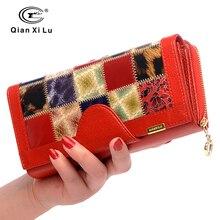 Qianxilu billetera de piel auténtica con 3 pliegues para mujer, cartera portafolio de viaje con bolsillo para monedas