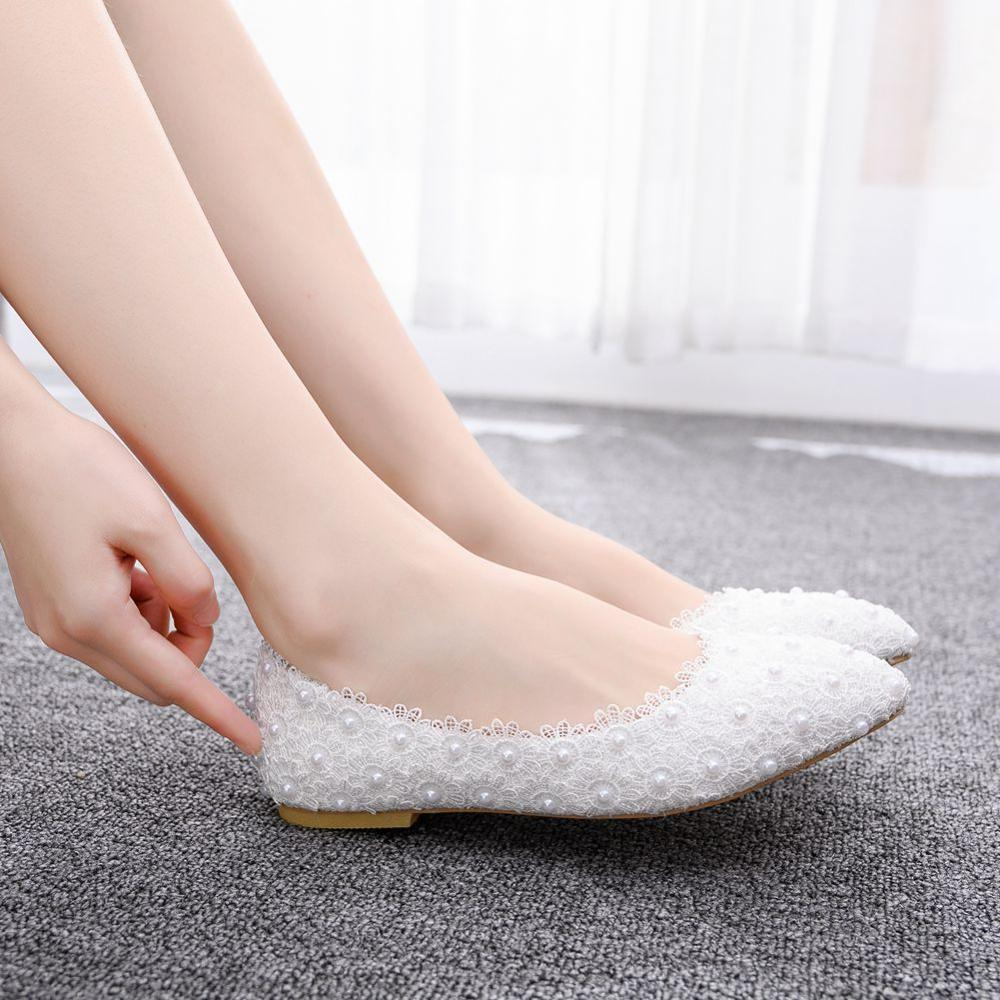 Crystal Queen Ballet Flats White Pearl