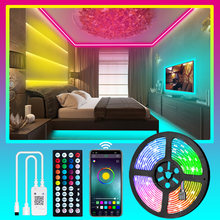 LED Bluetooth Lumières de BANDE 20M Luces Lumière Led Rvb 5050 SMD 2835 Flexible LED étanche Ruban Diode DC 12V + ADAPTATEUR