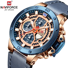 NAVIFORCE Watches New Top Brand Luxury Military Quartz Watch For Men Chronograph Leather Waterproof Clock Male relogio masculino top luxury brand naviforce men sports watches men s leather quartz analog led clock male military wrist watch relogio masculino
