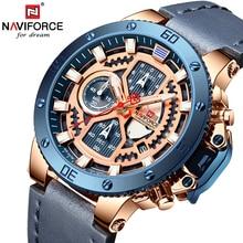 Naviforce腕時計新トップブランドの高級軍クォーツ時計男性クロノグラフウォッチのための革防水時計男性レロジオのmasculino