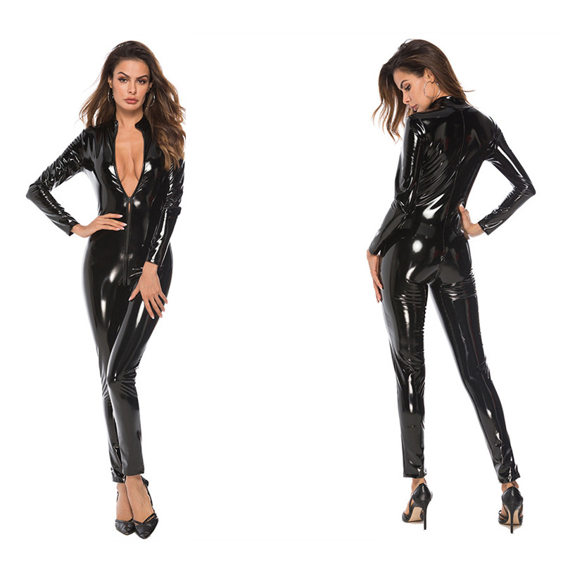 Women Jumpsuit Wet-look Zipper Patent Leather Sexy Jumpsuit Female Uniform Bodysuit Sexy High Elasticity Patent Leather Jumpsuit