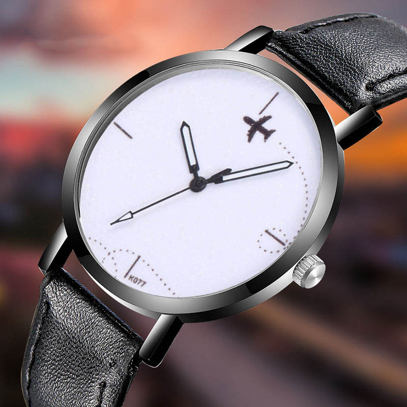 Airplane Flying Pointer Men Watch Interesting Creative Watch Casual Quartz Leather Strap Analog Gift Wirst Watches Montre Femme