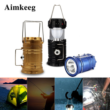 Aimkeeg Outdoor Portable Lantern LED Solar Powered Flashlights Rechargeable Hand Lamp for Hiking Camping Lighting Emergency ry t92 solar powered hand cranked 16 led white light outdoor camping lamp lantern black