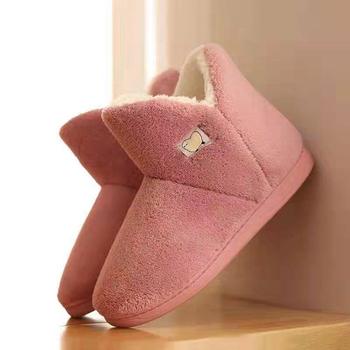 Różowe buty damskie antypoślizgowe buty damskie zimowe buty 2021 nowy dom zimowy zamszowe buty wodoodporne przeciw zabrudzeniom ciepłe futrzane buty tanie i dobre opinie hengsong flokowane ANKLE Płytkie Stałe Shoes Płaskie z podstawowe SYNTETYCZNE okrągły nosek Lato Plush RUBBER Niska (1 cm-3 cm)