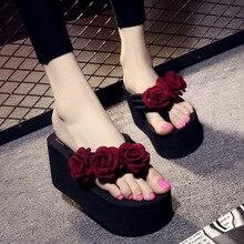 Summer Handmade Flowers High-heeled Flip-flops Female Non-slip Thick Bottom Wedge Beach Sandals and Slippers 11 Cm