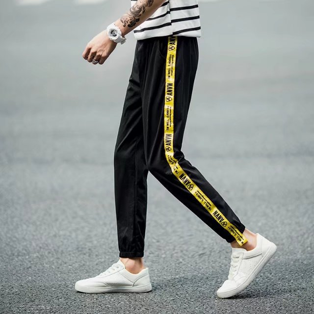 Couples Pants Students Business Attire Summer Athletic Pants Men And Women Lettered Webbing Yellow Edge Casual Pants Slim Fit An