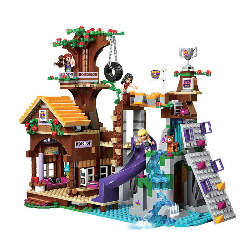 Compatível com legoinglys amigos aventura acampamento casa árvore emma mia figura modelo buildingtoy hobbies para crianças