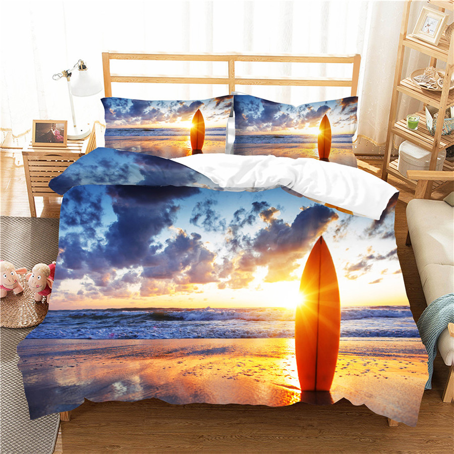 A Bedding Set 3D Printed Duvet Cover Bed Set Sea Surfing Home Textiles For Adults Bedclothes With Pillowcase #CLB01
