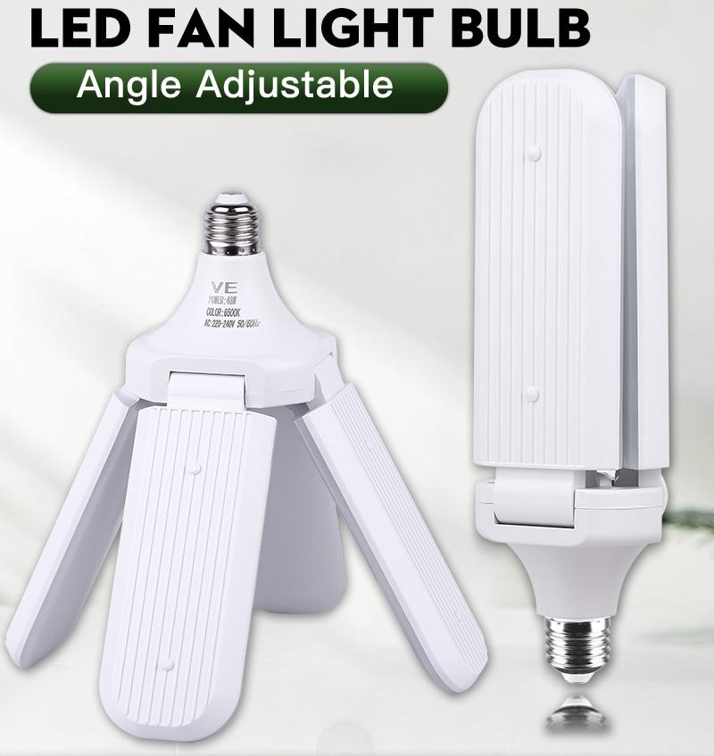Fan Blade LED Bulb 60W Super Bright Garage Lights 45W Adjustable E27 LED Fan Lamp LED Light  For Living Room
