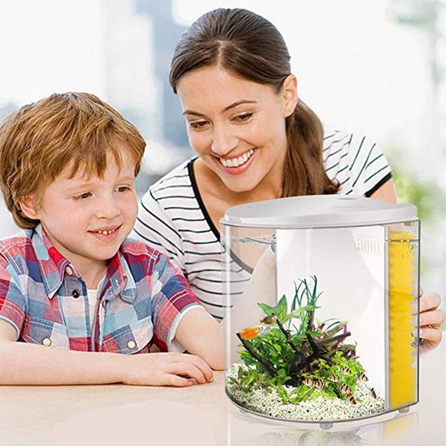 Mini Aquarium USB 5 l demi-lune | Mini Aquarium acrylique de grande capacité, fournitures pour Aquarium aquatique de bureau et maison pour animaux de compagnie